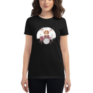 Women's T-shirt Drummer Dog